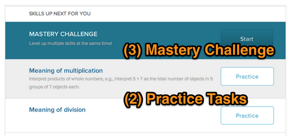 Practice tasks and mastery challenges